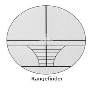 """A typical rangfinder reticle configuration: notice the slashes below the crosshairs signifiying addtional 10-yard increments from """"zero."""""""